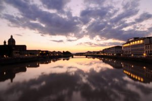Sunset over the Arno River in Florence