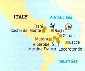 Puglia region on map